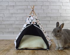 Rabbit teepee Guinea Pig bed with pillow  black & triangle