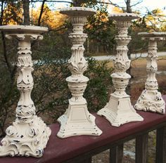 ❥ white chippy candle stands