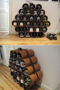 Sneaker storage PVC Rohr in gleich lange stücke schneiden, mit einem spanngurt fixiere, fertig