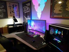 Game/Productivity station,live in a 300 sq ft Rental. Gaming Desk Setup, Best Gaming Setup, Pc Setup, All In One App, Just For You, Home Office Setup, Office Ideas, Gaming Station, Custom Pc