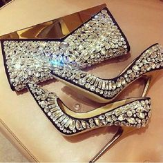 Jimmy Choo matching stilettos & mirror-flap clutch encrusted w/ jewels of various cuts: rhomboid, round, navette, drop, baguette
