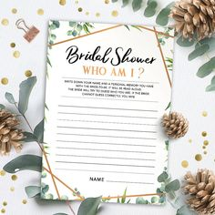 Bridal Shower Who Am I, Bridal Shower Games Printables, Bridal Shower Game Idea, Bridal Shower Instant Download, Wedding Game, Gold Greenery