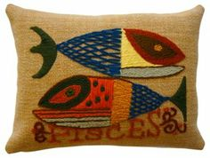 One Kings Lane - Presents from the Past - Crewelwork Pisces Pillow
