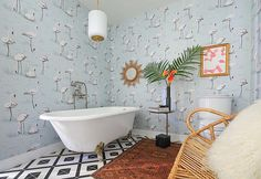 Pastel Blue Flamingo Wallpapers for the Bathroom - Our favorite flamingo-themed home decor via Instagram - featured on NONAGON.style