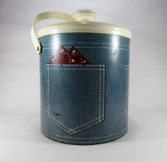 Vintage Ice Bucket With Denim Back Pocket Print by TurnerVintage, $10.00  www.TurnerVintage.etsy.com  www.facebook.com/TurnerVintage