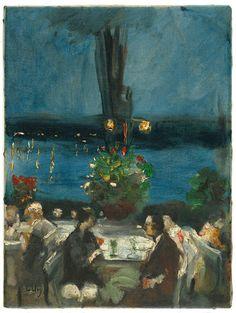 Gartenrestaurant an der Havel, 1925 - Oil on canvas by Lesser Ury (German 1861 - 1931)