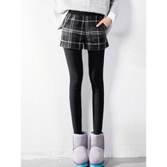 Black Leggings And Gray Plaid Shorts (€27) ❤ liked on Polyvore featuring shorts, plaid shorts, black shorts, gray shorts, grey shorts and tartan shorts
