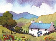 ACEO Original watercolour Hillside cottage Wales