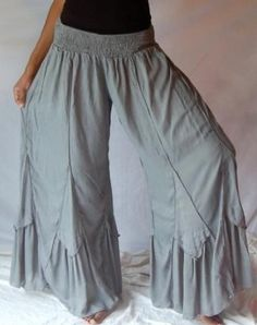 GREY PANT LAYER SMOCKED INSET CHIFFON - FITS (ONE SIZE) - L XL 1X 2X - X856 LOTUSTRADERS LOTUSTRADERS. $45.99