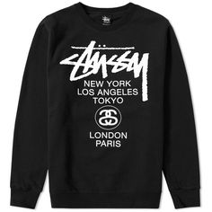 Stussy World Tour Crew Sweat (1.483.000 IDR) ❤ liked on Polyvore featuring men's fashion, men's clothing, men's hoodies and men's sweatshirts