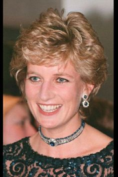 Diamond and Sapphire Rondelle Choker and Earrings are pieces made from Diana's…