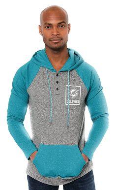 af1c3c88785 Amazon.com  NFL Men s Miami Dolphins Fleece Hoodie Pullover Sweatshirt  Henley Raglan