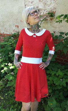 """Stretchkleider - Suzi.Ramone Kleid """"Sarah"""", rot mit weißen Punkten - ein Designerstück von ByRamone bei DaWanda"""