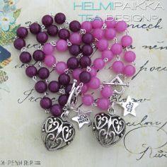 Tulossa myyntiin tänään <3 #bracelet #pinki #lilac #heart #heartlock #helmipaikka #teadesign
