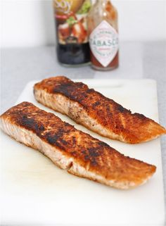 Wednesday Asian Pan Seared Salmon- Ready in under 10 minutes, tastes 10 million bucks! Naturally Paleo, Gluten Free, high protein and carb free! Delicious Salmon Recipes, Seared Salmon Recipes, Pan Seared Salmon, Fish Recipes, Seafood Recipes, Low Carb Recipes, Whole Food Recipes, Cooking Recipes, Healthy Recipes