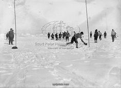 22x18 (58x48cm) Framed Print featuring Photographer:Hurley, Frank (1885-1962) Location:Scott Polar Research Institute, University of Cambridge Expedition:Imperial Trans-Antarctic Expedition, 1914-17. Leader: Ernest Shackleton Soccer during a hold up.