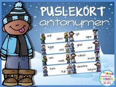 Puslekort med antonymer Danish Language, Classroom, Teaching, Writing, Education, School, Montessori, Tips, First Grade
