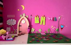 This fairy just loves pink! Fairy Homes, Our Kids, Dragons, Irish, Toddler Bed, Houses, Happy, Pink, Furniture