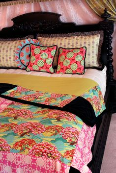 A Romantic Bedroom Retreat with Rowan & FreeSpirit Fabrics: Quilted and Fringed Coverlet | Sew4Home