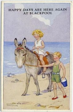 Hester Margetson (English, 1890-1963) -Postcard, 'At the seaside' series (1940)