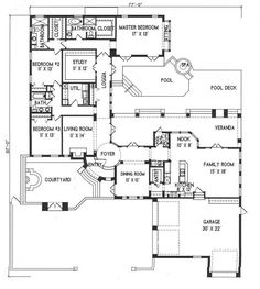 Plan #1-1148. Spanish style home with a living S.F. of 2892 (4238 S.F. Total), 3 full baths and 1 half baths. 1 story home, 85' wide, and 97' deep.