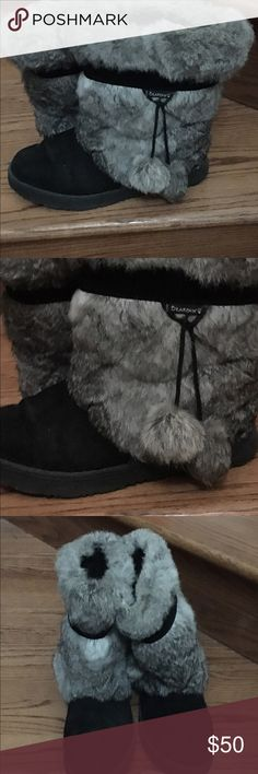 Bear paw boots size 11 Bear paw boots with synthetic fur. Only wore once. Black suede bottom with synthetic fur on boot shaft. Super cute but runs a little small. 💋 BearPaw Shoes Winter & Rain Boots