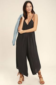 cb953664e43a5 65 Take the Billabong Del Sur Washed Black Midi Jumpsuit along for your  next exotic vacation. Lulus