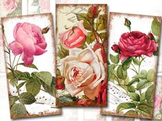Vintage roses digital collage sheet domino tile 1x2 inch rectangles by Karisagraphic