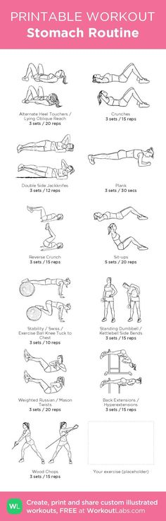 Stomach Routine – illustrated exercise plan created at WorkoutLabs.com • Click for a printable PDF and to build your own #customworkout