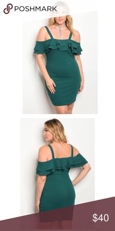 HPplus Size off the shoulder dress Plus size ruffle detail off the shoulder bodycon dress Made In U.S.A 1XL.2XL.3XL 95% Polyester 5% Spandex  Hunter Green Dresses Midi