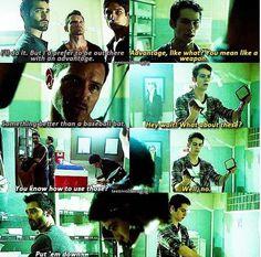 Heehee Derek treats Stiles like a kid sometimes still! Teen wolf