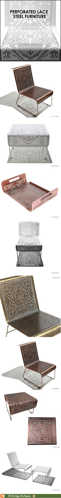 Metal furniture inspired by Brazilian Lace Embroidery casts shadows as cool at the items themselves.