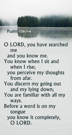 "Psalm 139:1-4 The song: ""Oh Lord you've searched me. You know my ways. Even when I fail you. I know you love me."""
