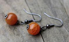 Butterscotch Crackle Agate Earrings-Simple Bridal Earrings