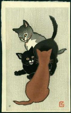 T名取春仙: Three Kittens Playing