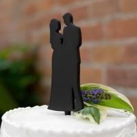 "Silhouette Cake Pick Black, resin wedding couple silhouette cake pick. Size: 8 3/4"" x 2 1/2""."