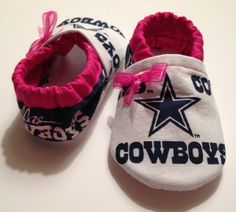 Pink Baby Booties/Shoes Made from Dallas Cowboys Fabric on Etsy, $15.00