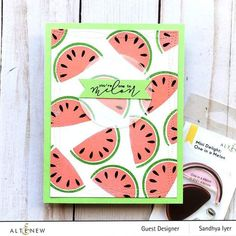 Description Intro Video Do you love watermelon? Biting into the cold, juicy fruit is a fond childhood memory for many of us. Now, you can add a fruity sentiment and image to your handmade projects to let your loved ones know just how much you care. This cute mini set includes a multi-layered melon and a punny sentiment Paper Cards, Diy Cards, Watermelon Patch, Feather Cards, Fruit Cups, One In A Melon, Cute Fruit, Exotic Fruit, Altenew
