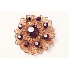 Amethyst Rhinestone Flower Brooch Filigree Victorian Revival Vintage... ($20) ❤ liked on Polyvore featuring jewelry, blossom jewelry, rhinestone jewelry, amethyst jewellery, victorian jewelry and vintage amethyst jewelry