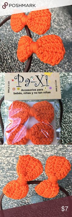 """Knitted Bow Clips Beautiful knitted bow clips (2 per package) easy to put on the little ones and very comfortable. About 3"""" long and 1.5"""" wide. Orange color--Please see other listing for additional colors! :) Paxi Accessories Hair Accessories"""
