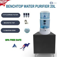 8 Stage Water Filter Purifier Bench Top Dispenser 3 FLUORIDE WATER FILTERS 20L #Aimex Fluoride Water Filter, Water Filters, Water Filtration Bottle, Plastic Items, Stage, Bench, Australia, Top