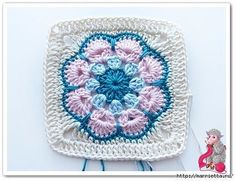 The beautiful African Flower crocheted flower motif gets reinvented as an eye-catching granny square! Crochet Afghans, Crochet Motifs, Crochet Stitches, Knit Crochet, Crochet Patterns, Blanket Crochet, Crochet Square Pattern, Crochet Blocks, Crochet Squares