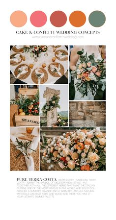 Pure Terra Cotta Wedding Color Palette warm earthy tones like terra cotta - simply the symbol of med Orange Wedding Colors, Summer Wedding Colors, Wedding Color Pallet, Wedding Color Schemes, Rustic Italian Wedding, Earth Tone Wedding, Pallette, Mediterranean Wedding, Warm Colour Palette