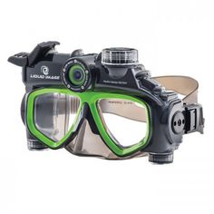 "Hydra Series HD is an Underwater Camera built into a dive mask making underwater photography ""Hands Free"" for safer swimming, snorkeling, and scuba diving. CMOS Image Sensor, Interpolated Still Images, HD Video Mode at 30 fps with Audio. Best Snorkel Mask, Dive Mask, Image Model, Sports Camera, Underwater Photography, Photography Tips, Hd 1080p, Snorkeling, Hd Video"