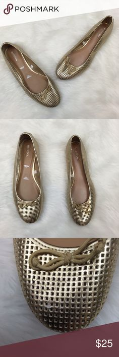 ⛱MERONA Gold Perforated Flats ~Get these essential gold flats! ~Spring right into spring and summer! ~These have been worn a couple of times.  There is a mark at the toe. ~These are in great condition! ~These feature a perforated design and a tie accent. ~Get this now! This will go quick! ~NO TRADES Merona Shoes Flats & Loafers