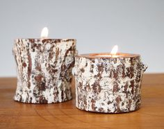 Candle Holders Cottage Chic Tea Light Rustic Eco by merritthyde, $18.00