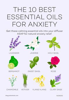 If you find yourself totally overwhelmed youre not alone. Get these essential oils for anxiety into your diffuser ASAP to feel naturally calm. Calming Oils, Calming Essential Oils, Essential Oils For Anxiety, Chamomile Essential Oil, Rose Essential Oil, Best Essential Oils, Herbs For Anxiety, Anxiety Tips, Anxiety Help