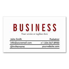 Simple Plain Red Title Podiatrist Business Card