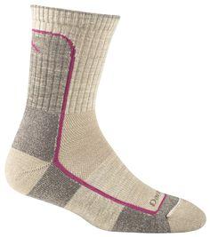 DARN TOUGH - The new women's Light Cushion Hike/Trek socks in Oatmeal/Fuchsia.