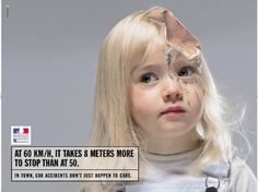 """""""In town, car accidents don't just happen to cars"""" campaign."""